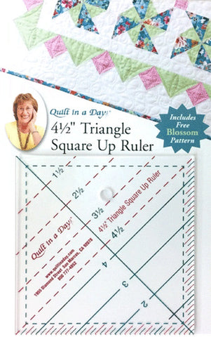 "4 1/2"" Triangle Square Up Ruler, Quilt in a Day, includes FREE Blossom Pattern"