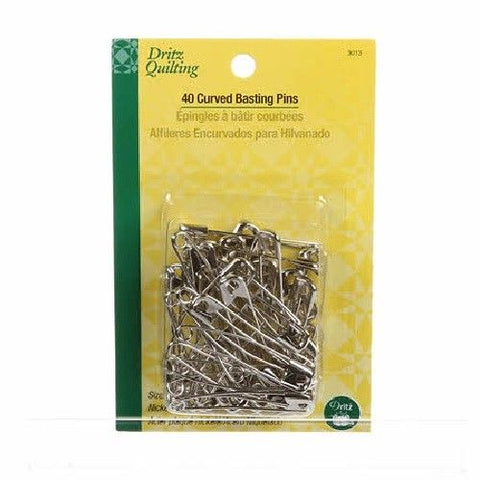 "40 Curved Safety Pins, Size 3, 2"" long Nickel Plated Steel from Dritz #3013"