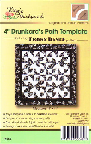 "4"" Drunkard's Path Template, Quilt Template by [Elisa's] Backporch Design. EBD05"