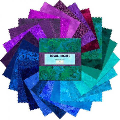 "Royal Nights 5 Karat Mini-Gems, 24-5"" Squares 100% Cotton Quilting Fabric by Wilmington 505-28-505"