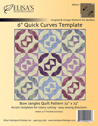 "6"" Quick Curves Template, Quilt Template by Elisa's Backporch Design. EBD011"