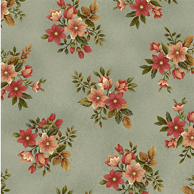 100% Cotton, Pheasant Run 8031-77 Blue Small Floral, Henry Glass, By the Yard