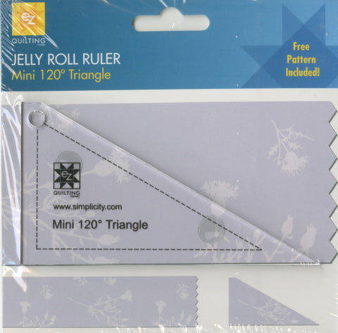 Mini 120 Triangle Jelly Roll Ruler,  EZ Quilting 882229 FREE Pattern Included