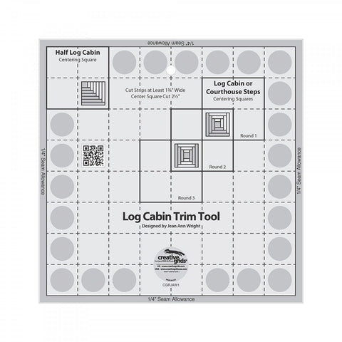 "8"" Log Cabin Trim Tool, Non-Slip Quilt Ruler from Creative Grids, #CGRJAW1"