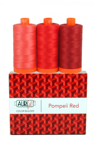 AURIFIL Pompeii Red Thread Collection 50wt 3 Large Spools AC50CP3-002