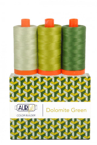 AURIFIL Dolomite Green Color Builder Thread Collection 50wt 3 Large Spools AC50CP3-005