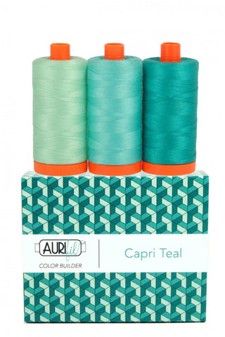 AURIFIL Capri Teal Color Builder Thread Collection 50wt 3 Large Spools AC50CP3-008
