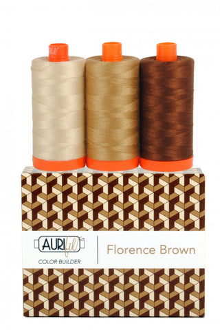 AURIFIL Florence Brown Thread Collection 50wt 3 Large Spools AC50CP3-009
