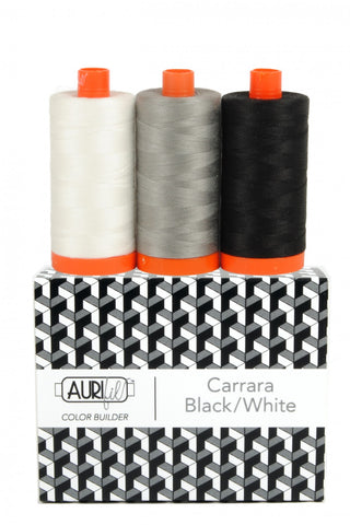AURIFIL Carrara Black/White Color Builder Thread Collection 50wt 3 Large Spools AC50CP3-012