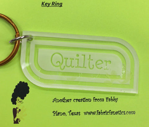 Acrylic QUILTER Keyring/Keychain, Key Chain from Fabric Fanatics