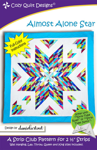 "Almost Alone Star, a 2 1/2"" Strip Pattern from Cozy Quilt Designs # CQD01218"