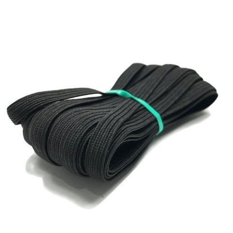 Flat Elastic 1/4 inch - 5 yards - TGQ054 BLACK