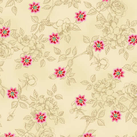 100% Cotton, Bohemian Rose #4481 25010 CRE1 from Red Rooster, By the Yard