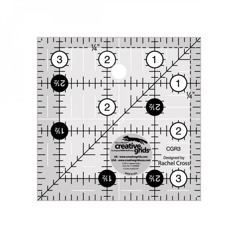 "3 1/2"" x 3 1/2"" Turn-a-Round Non-Slip Quilt Ruler from Creative Grids, #CGR3"