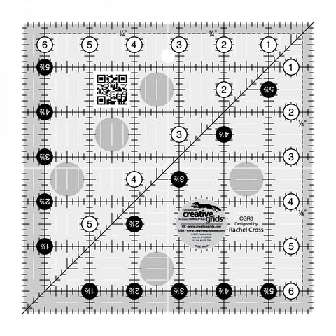 "6-1/2"" x 6-1/2"" Turn-a-Round Non-Slip Quilt Ruler from Creative Grids, #CGR6"