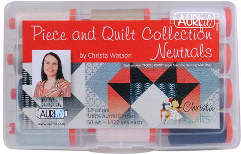 AURIFIL Piece and Quilt Collection Neutrals - 50 WT -12 spools cotton thread CW50PQN12