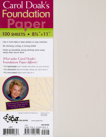 "Carol Doak's Foundation Paper, 8 1/2 x 11"" for Paper Piecing, Printer Friendly"