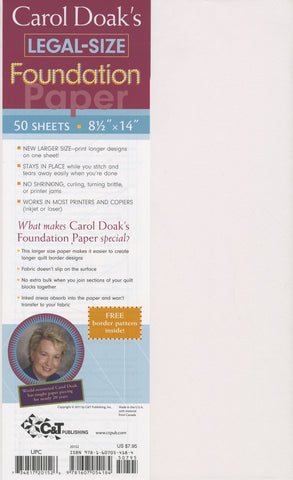 "Carol Doak's Legal-Size Foundation Paper, 8 1/2 x 14"" for Paper Piecing, 50 sheets, Printer Friendly"