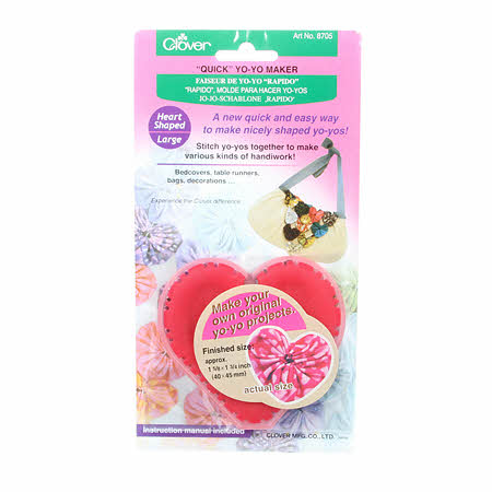 "Clover ""Quick"" Yo-Yo Maker (Heart Shaped Large) #8705 for an Easy Yo-Yo Quilt"
