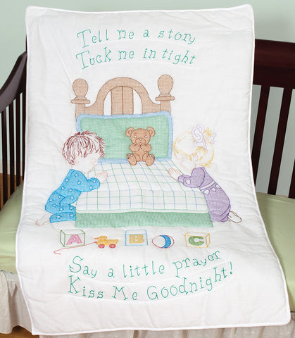 Kiss Me Goodnight Crib Quilt Top, Jack Dempsey Cross Stitch Embroidery #4060-897