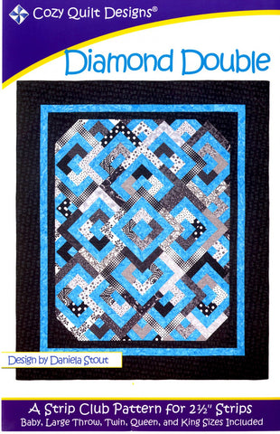 "Diamond Double, a 2 1/2"" Strip Pattern from Cozy Quilt Designs # CQD01032"