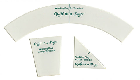 Double Wedding Ring Templates, Quilt in a Day ruler, includes arc, corner, & wedge