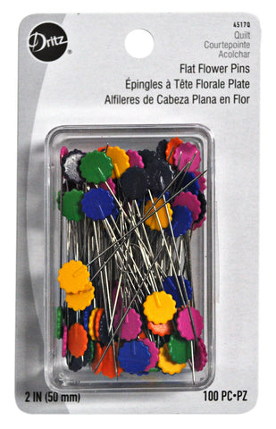"Flat Flower Pins 100/pkg, 2"" long assorted colors, Quilting & Sewing 4517Q"