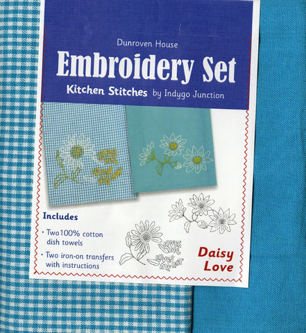 Daisy Love Kitchen Stitches Embroidery Set (2) Hand Towels/Dishtowels