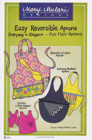Easy Reversible Aprons Pattern, Full Flair Aprons by Mary Mulari Designs MP27