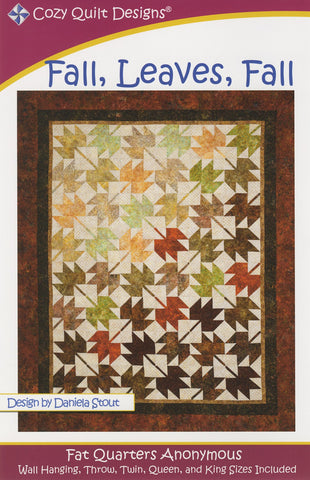 Fall, Leaves, Fall quilt pattern, Fat Quarters Anonymous from Cozy Quilt Designs #CQD01033