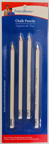 Chalk Pencils, by Fons & Porter, 4 count #7884, white, grey, blue, & yellow