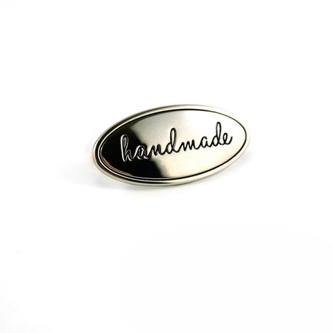 Metal Bag Label Oval Handmade In Nickel EBLBL-2NL