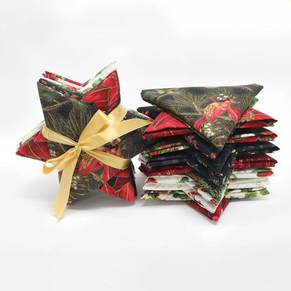 Hoffman Jingle Stars - Gold - Fat Quarter Bundle, Fifteen (15) Fat Quarters