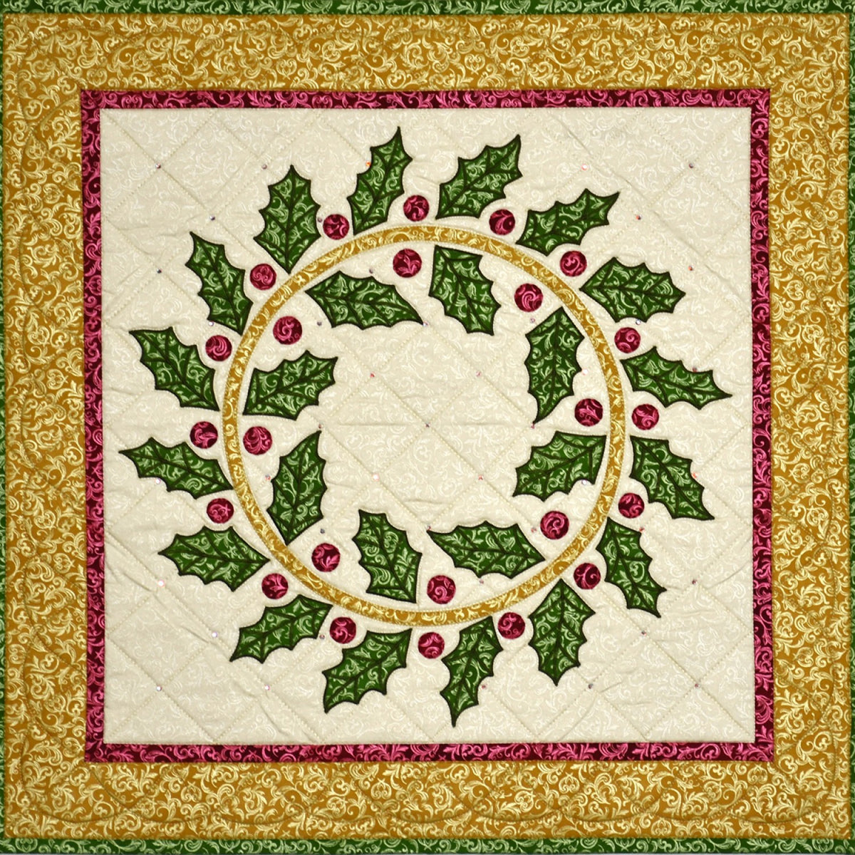 Yuletide Essence Quilt Kit using Pearl Essence Scroll by Maywood Studios
