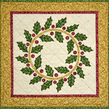 Holiday Holly Wreath KIT 26in x 26in, Maywood Studio quilt fabric #KIT-MASHHW