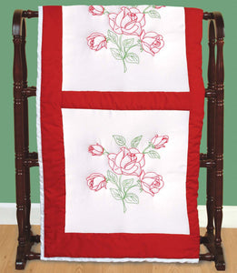 Long Stem Rose Quilt Blocks, pkg of 6 White, Jack Dempsey Embroidery #732-134