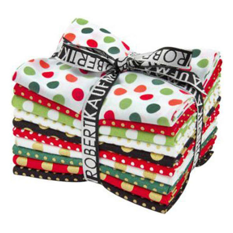Kaufman Spot On Deck the Halls, Holiday Fat Quarter Bundle,100% Cotton FQ-760-10