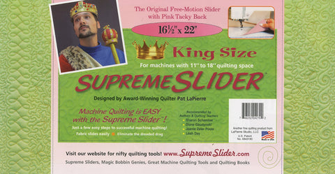 "King Size SUPREME SLIDER for Free Motion Machine Quilting, 16 1/2"" x 22"""