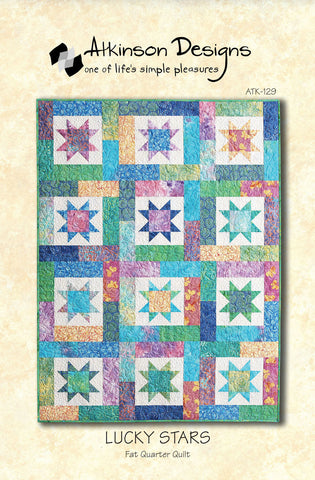 LUCKY STARS Quilt Pattern, Atkinson Designs Fat Quarter Quilt ATK129