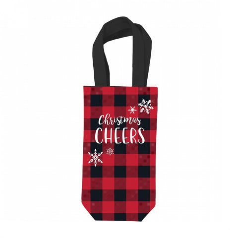 Wine Bag, Christmas CHEERS, from Viv & Lou MNA102VL-REDCHECK