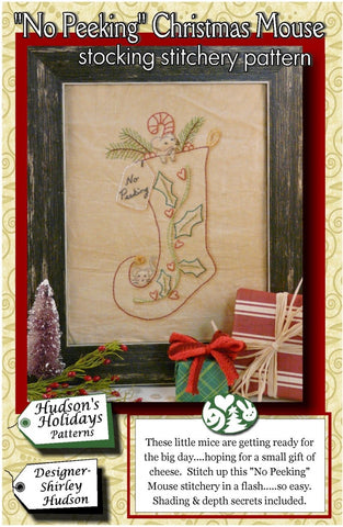"""No Peeking"" Christmas Mouse stocking stitchery pattern #273 by Shirley Hudson"