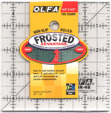 "Frosted Acrylic OLFA Ruler 4.5"" Square Ruler (The Charm) for Quilting & Crafts QR-4S"