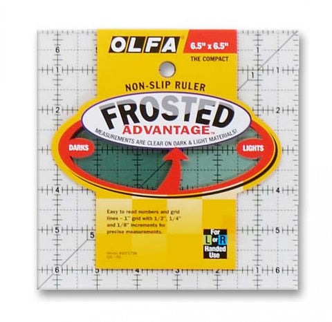 "Frosted Acrylic OLFA Ruler 6.5"" Square Ruler (The Compact) for Quilting & Crafts QR-6S"