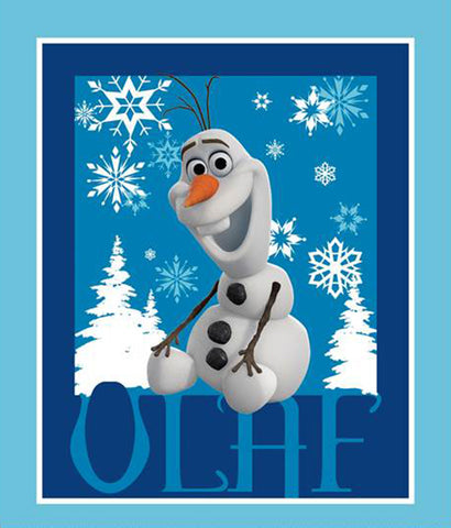 Disney Frozen Olaf Panel, Blue #535521600715 100% Cotton Fabric, By The Panel