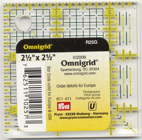 "Omnigrid 2 1/2"" Square Ruler for Quilting, Miniatures, Sewing & Crafts R25G"