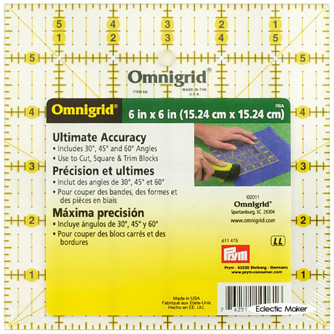 "Omnigrid 6"" square, 6 x 6 inch Ultimate Accuracy Ruler, R6A"