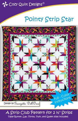 "Pointy Strip Star, a 2 1/2"" Strip Pattern from Cozy Quilt Designs # CQD01210"