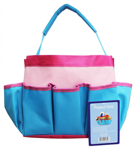 "Project Tote - 10 x 8 x 5"" Blue, Light Pink, and Hot Pink from Allary #1610"