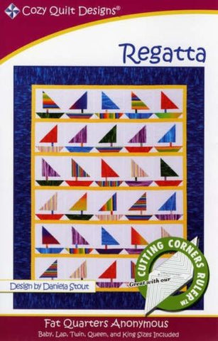 Regatta quilt pattern, Fat Quarters Anonymous from Cozy Quilt Designs # CQD01088