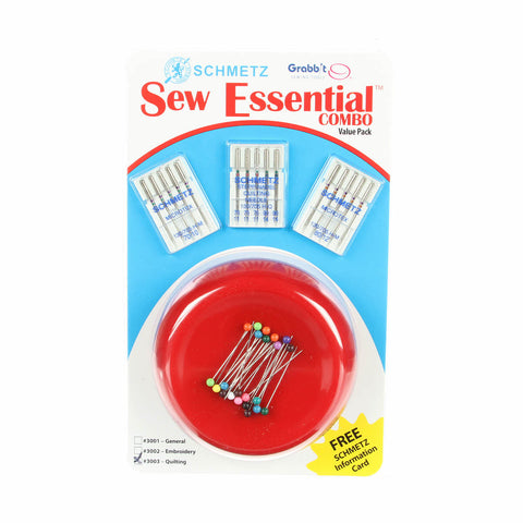 Sew Essential Combo,GRABBIT Pincushion & Schmetz Needles, #3003 for Quilting
